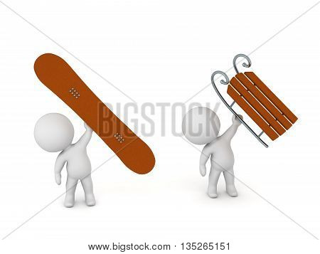 3D characters holding up a snowboard and a sled. Isolated on white background.
