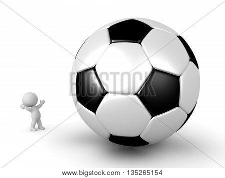 3D Character Looking Up At Large Football