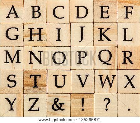 English alphabet uppercase background of isolated wood letterpress printing blocks