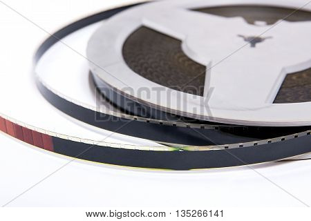 Close Up View Of Old Cine Film Strip Isolated On White Background.