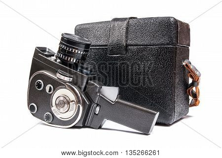 Vintage Movie Camera And Leather Case For It Isolated On White