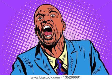 Emotional strong black man, an African American businessman pop art retro vector