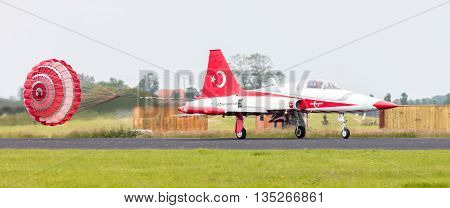 Leeuwarden, The Netherlands - June 10, 2016: Turkish Air Force Demonstration Team Turkish Stars At T