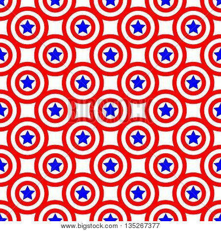 Circles and stars seamless pattern. American patriotic stars and rounds image in bright red blue and white. Template for prints textiles wrapping wallpaper website etc. Stock vector illustration