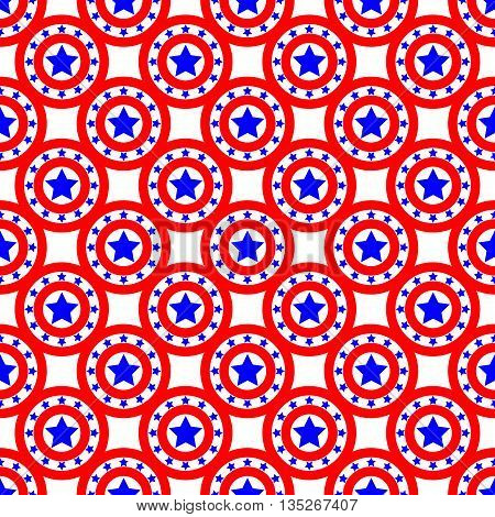 Stars and circles seamless pattern. American patriotic stars and rounds image in bright red blue and white. Template for prints textiles wrapping wallpaper website etc. Stock vector illustration