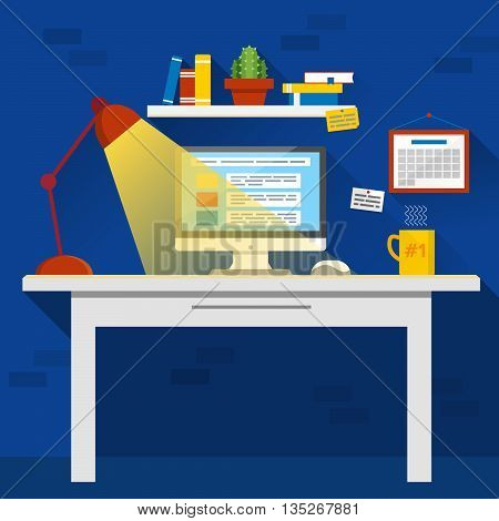 Creative cartoon office workspace with computer lamp calendar books plants mug. Flat design vector illustration of modern office interior. Flat minimalistic style and color long shadows.