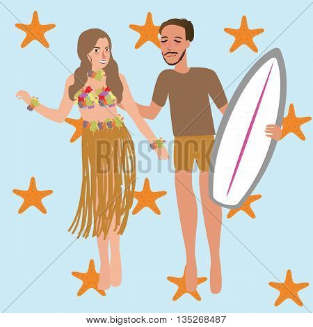 man woman dancing Hawaii while holding surfing board vector