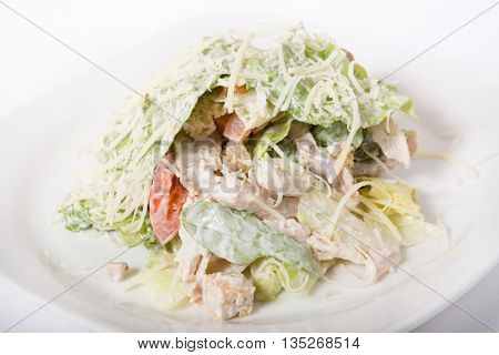 Chicken salad with cheese and mixed vegetables