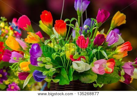 Beautiful colors of plastic or fake flowers.