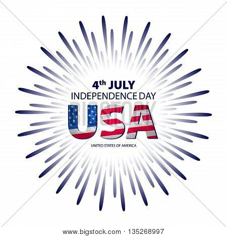Happy 4Th July Independence Day With Fireworks Background. Vector