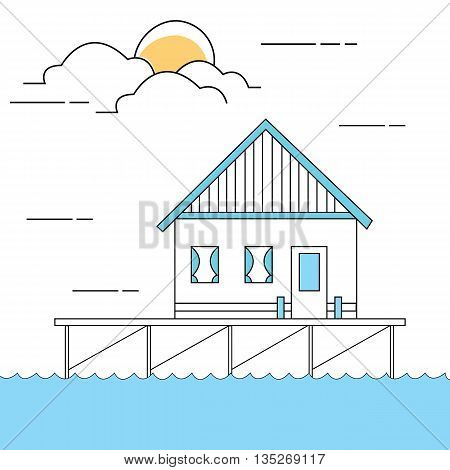 line style illustration of house or home above sea water close to lake vector