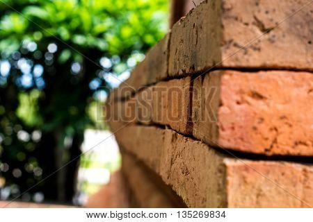 Closed up of Graffiti brick wall in ThailandAbstract
