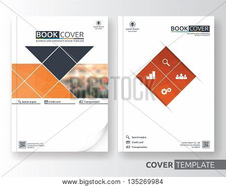 Abstract business and corporate cover design layout. Suitable for flyer brochure book cover and annual report. Orange and white color A4 size template background with bleed. Vector illustration
