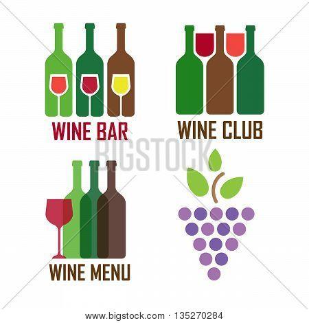 Wine shop logos set vector illustration eps 10