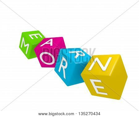 3d rendering of colorful dices with the words Earn more business concept on white