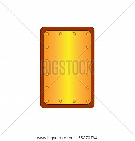 Sign shield gold. Rectangle protection icon isolated on white background. Mark with volume effect. Symbol of a bronze guard. Colorful element. Logo for military and security. Stock vector illustration