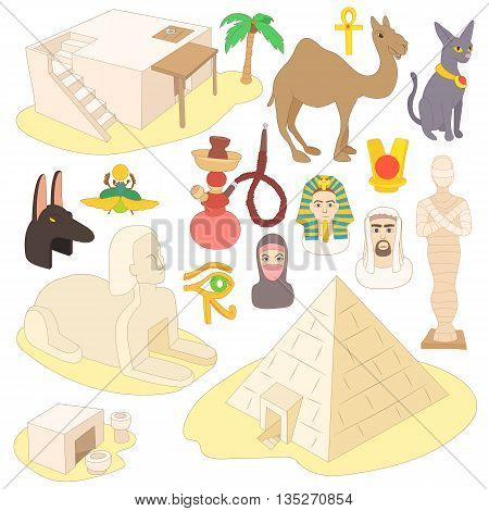 Egypt icons set in cartoon style isolated on white background