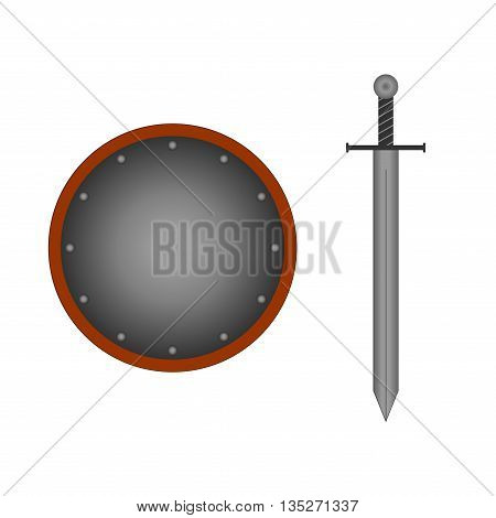 Set of sign round shield and sword silver. Combat icon isolated on white background. Mark with volume effect. Symbol of a steel elements. Logo for military and security. Stock vector illustration