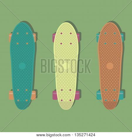Vector illustration with 3 plastic skateboards, known within the industry as a short cruiser.