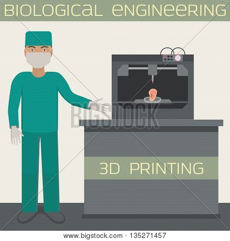 Medical 3D printing for producing a cellular construct, biological engineering, printing ear.  3 d printing. Vector illustration.