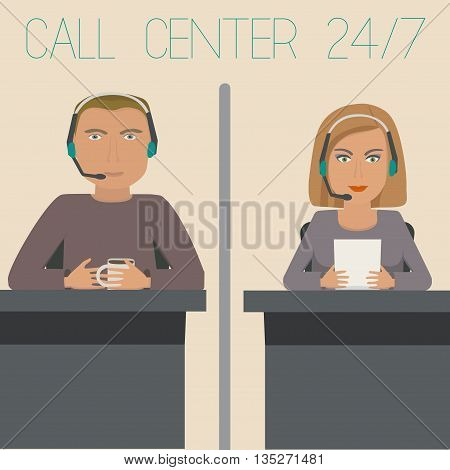 A girl and a guy working in support, call center. Vector illustration.