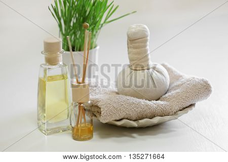 Spa composition on blurred background