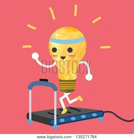 testing ideas light bulb having exercise in treadmill make it strong vector