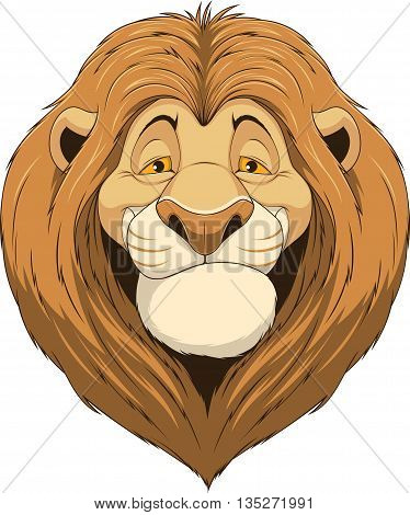 Vector illustration, friendly funny lion smiling on a white background