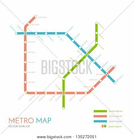 metro or subway map design template. city transportation scheme concept. rapid transit vector illustration