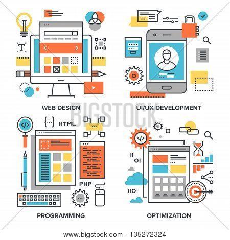 Vector set of conceptual flat line illustrations on following themes - web design, UI UX development, programming, optimization