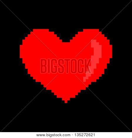 Sign pixel heart. Image of love. Red icon isolated on black background. Color romantic symbol. Logo for game. Light health content. Mark of valentine. Stock vector illustration