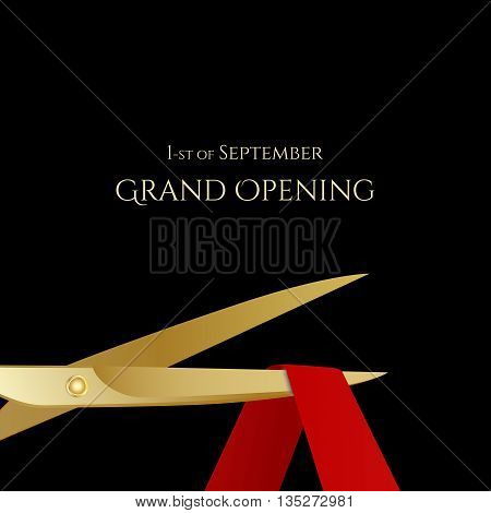 Grand Opening celebrities illustration with gold scissors and red ribbon isolated. Vector illustration
