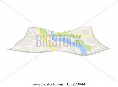 Vector navigation map icon on white background. Vector illustration
