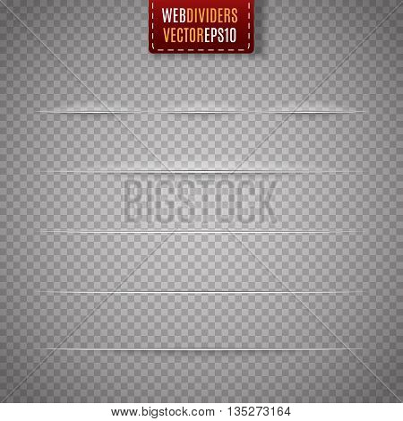 Set of web dividers isolated on transparent background. Vector illustration