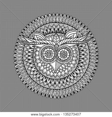 Birds mandala theme. Owl white mandala with abstract ethnic aztec ornament pattern on grey background. Owl banner. Owl tattoo.  Zentangle inspired. Stylized ethnic Owl.