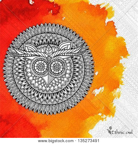 Birds mandala theme. Owl white mandala with abstract ethnic aztec ornament pattern on colorful watercolor background. Owl banner. Owl tattoo.  Zentangle inspired. Stylized ethnic Owl.