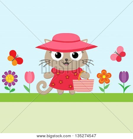 Vector spring flower background with funny kitty and flowers