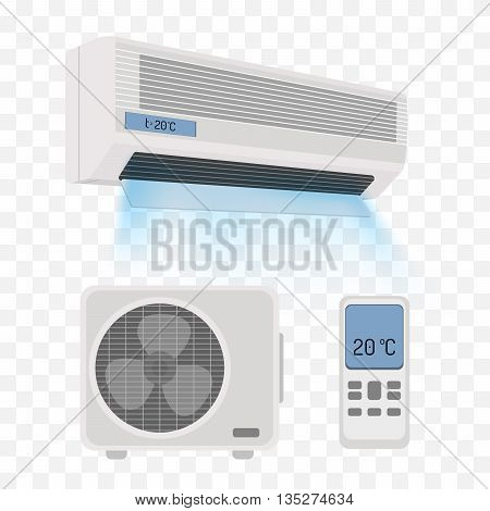 Air conditioner isolated on white. Vector illustration