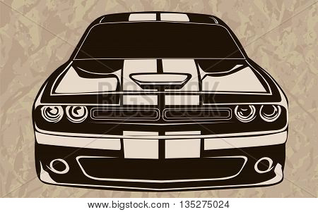 Muscle Car Abstract Sketch Old School 3
