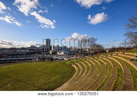 The skyline of the city of Sheffield South Yorkshire seen from the amphitheatre above the city's main rail station England UK