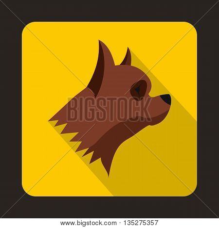 Pinscher dog icon in flat style with long shadow. Animals symbol