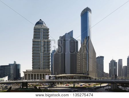 Shanghai skyline. Modern skyscrapers in downtown Shanghai China