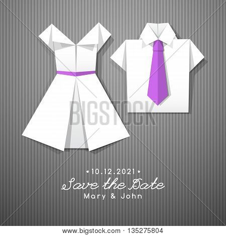 vector origami dress and shirt, wedding invitation template