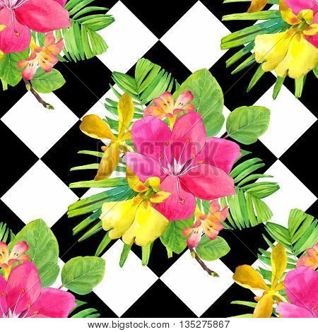 Beautiful bouquet with tropical plants on black and white chess background. Composition with lily, palm leaves and orchid.
