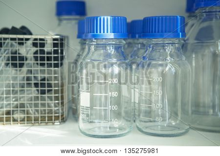 Test tubes in laboratory. Scientific and healthcare research background.