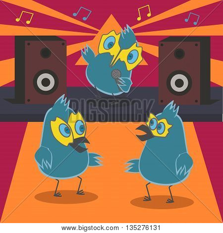 Dancing birds on the background of the scene with music speakers.