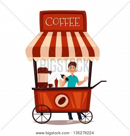 Sale of coffee outdoors, cartoon comic illustration isolated on white background, seller sells the coffee in the street, fast food drinks, coffee drink