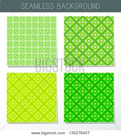 Four beautiful green seamless ornament. Mandala. Vintage decorative elements. Islam Indian. Ceramic tile. Set of beautiful ethnic oriental ornaments. Abstract background. Kaleidoscope.