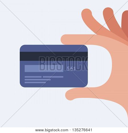 Hand holding credit card. Mobile payment. Online shopping. Vector illustration. Flat design style.