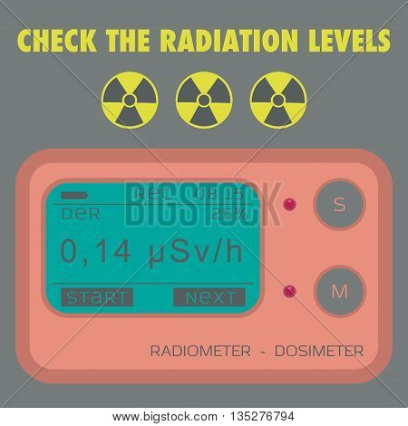 Gamma Radiation Personal Dosimeter. Check the radiation levels. Vector illustration.